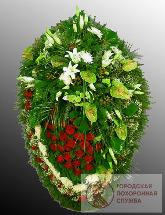 Траурный венок из живых цветов №14