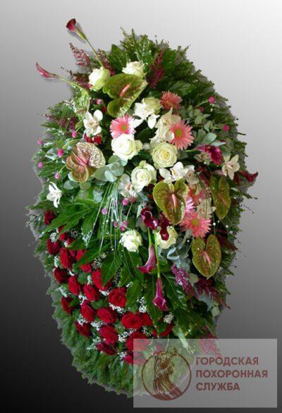 Фото 1 - Траурный венок из живых цветов ВЖЦ-15.