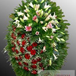 Фото 10 - Траурный венок из живых цветов ВЖЦ-16.