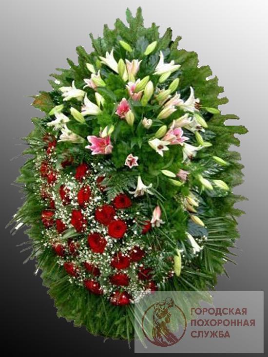 Траурный венок из живых цветов №16