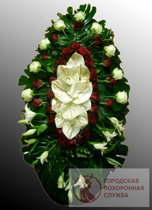 Траурный венок из живых цветов №19