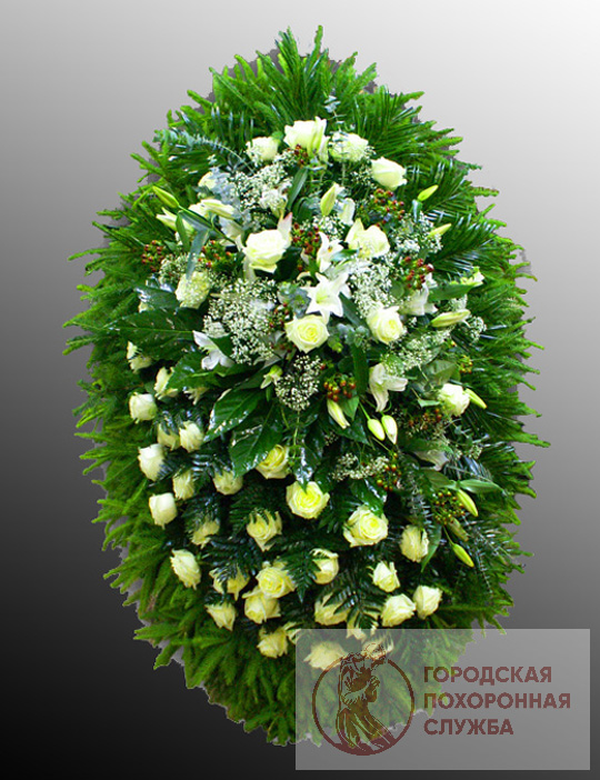Траурный венок из живых цветов №20