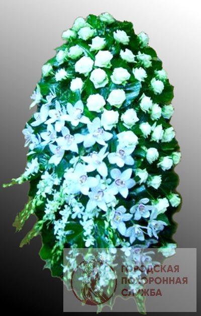 Фото 1 - Траурный венок из живых цветов ВЖЦ-23.