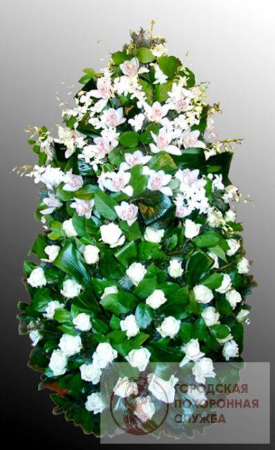 Фото 1 - Траурный венок из живых цветов ВЖЦ-24.