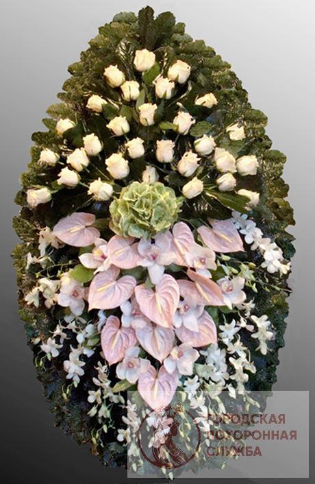 Траурный венок из живых цветов №25