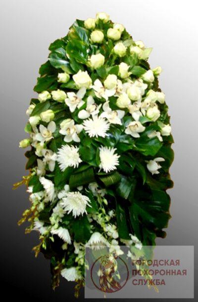 Фото 1 - Траурный венок из живых цветов ВЖЦ-26.