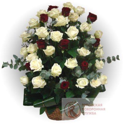 Фото 1 - Ритуальные корзина из живых цветов ЖК-09.