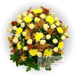 Фото 10 - Ритуальные корзина из живых цветов ЖК-10.