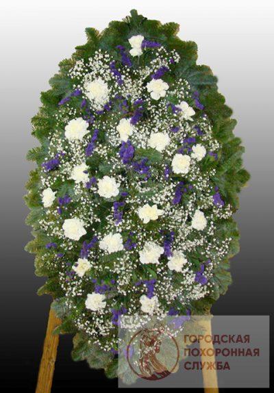 Фото 1 - Элитный ритуальный венок из живых цветов №11.