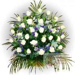 Фото 5 - Ритуальные корзина из живых цветов ЖК-11.