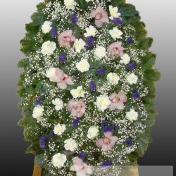 Фото 18 - Элитный ритуальный венок из живых цветов №12.