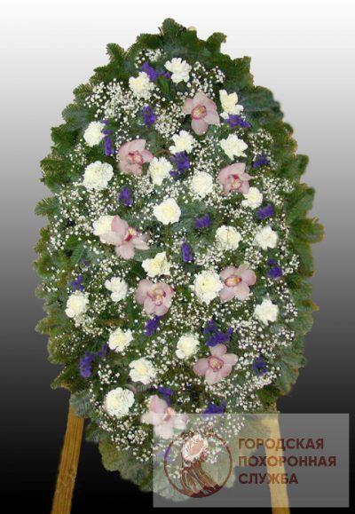 Фото 1 - Элитный ритуальный венок из живых цветов №12.