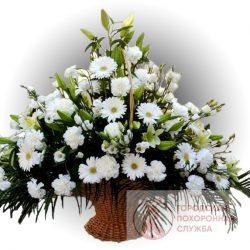 Фото 12 - Ритуальные корзина из живых цветов ЖК-12.