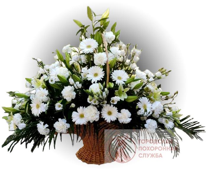 Ритуальная корзина из живых цветов ЖК №12