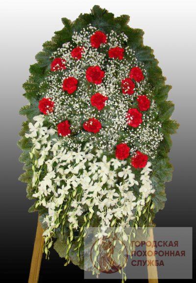 Фото 1 - Элитный ритуальный венок из живых цветов №14.