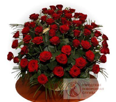 Фото 1 - Ритуальные корзина из живых цветов ЖК-14.