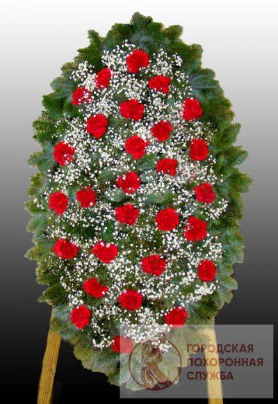 Фото 1 - Элитный ритуальный венок из живых цветов №15.