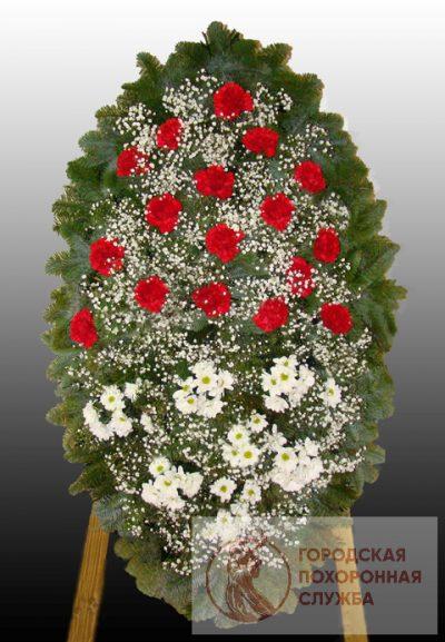 Фото 1 - Элитный ритуальный венок из живых цветов №16.