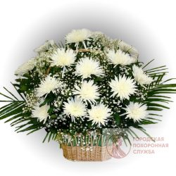 Фото 15 - Ритуальные корзина из живых цветов ЖК-16.