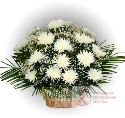 Фото 1 - Ритуальные корзина из живых цветов ЖК-16.