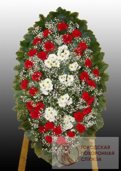 Фото 1 - Элитный ритуальный венок из живых цветов №17.