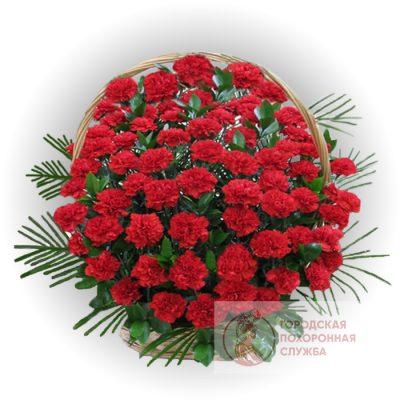 Фото 1 - Ритуальные корзина из живых цветов ЖК-17.