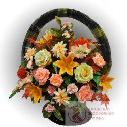 Фото 24 - Ритуальная корзина из искусственных цветов ИК-18.