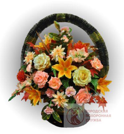 Фото 1 - Ритуальная корзина из искусственных цветов ИК-18.
