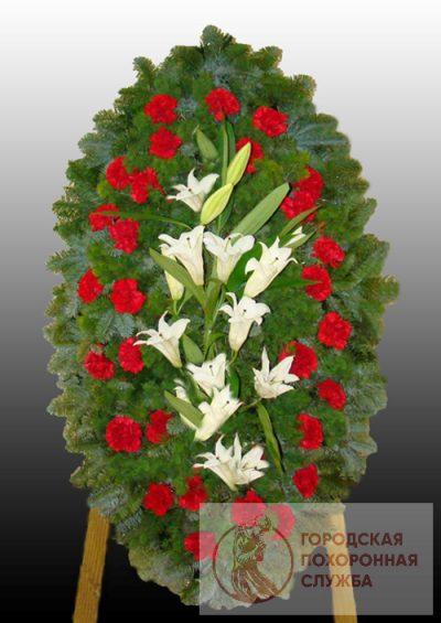 Фото 1 - Элитный ритуальный венок из живых цветов №18.