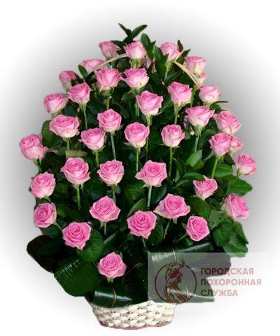 Фото 1 - Ритуальные корзина из живых цветов ЖК-18.