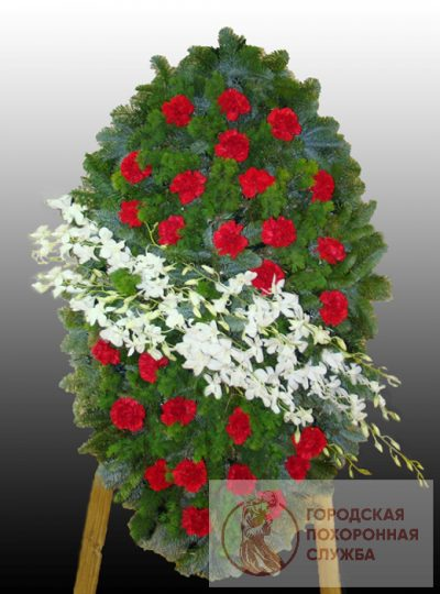 Фото 1 - Элитный ритуальный венок из живых цветов №19.