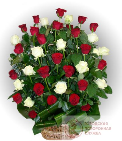 Фото 1 - Ритуальные корзина из живых цветов ЖК-19.