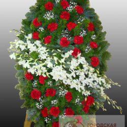 Фото 17 - Элитный ритуальный венок из живых цветов №20.