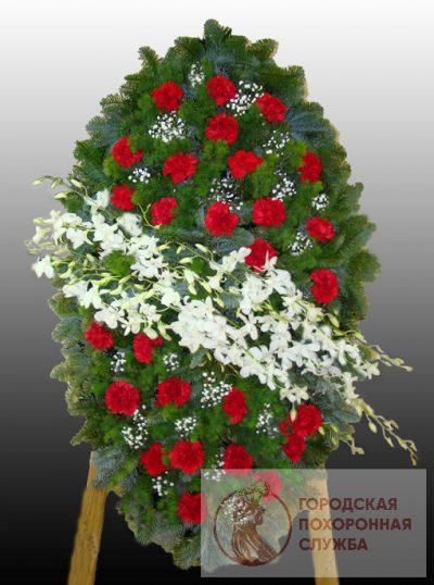Фото 1 - Элитный ритуальный венок из живых цветов №20.