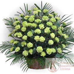 Фото 20 - Ритуальные корзина из живых цветов ЖК-20.