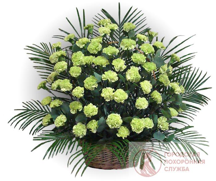 Ритуальная корзина из живых цветов ЖК №20