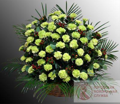 Фото 1 - Ритуальные корзина из живых цветов ЖК-21.