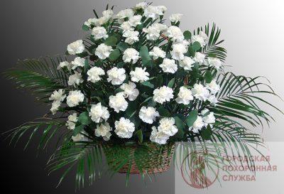 Фото 1 - Ритуальные корзина из живых цветов ЖК-22.