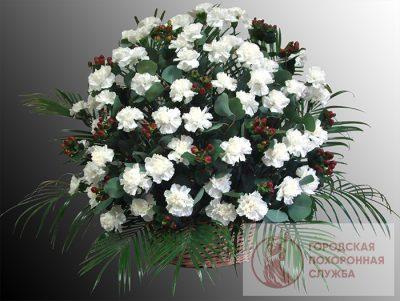 Фото 1 - Ритуальные корзина из живых цветов ЖК-23.