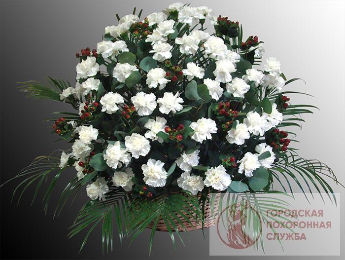 Ритуальная корзина из живых цветов ЖК №23