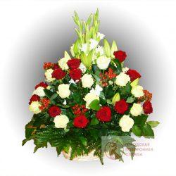 Фото 24 - Ритуальные корзина из живых цветов ЖК-24.