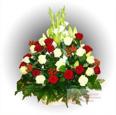 Фото 1 - Ритуальные корзина из живых цветов ЖК-24.