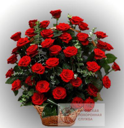 Фото 1 - Ритуальные корзина из живых цветов ЖК-25.