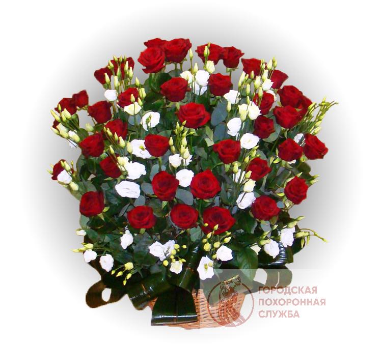 Ритуальная корзина из живых цветов ЖК №26