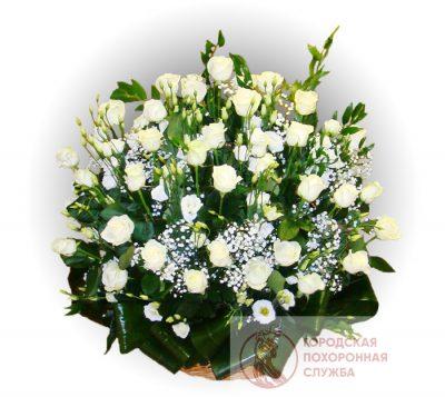 Фото 1 - Ритуальные корзина из живых цветов ЖК-27.