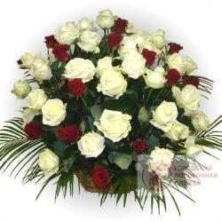 Фото 22 - Ритуальные корзина из живых цветов ЖК-28.