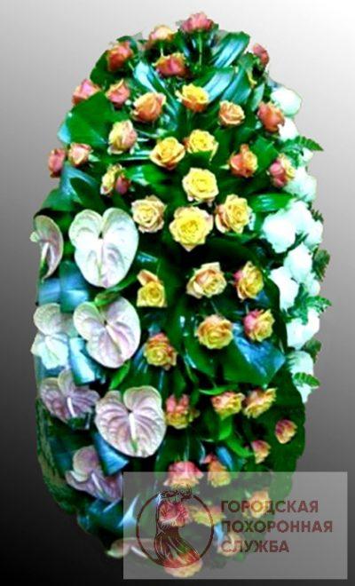 Фото 1 - Траурный венок из живых цветов ВЖЦ-30.
