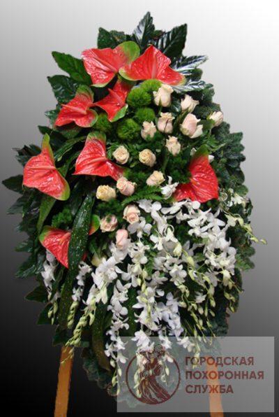 Фото 1 - Траурный венок из живых цветов ВЖЦ-31.