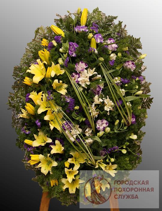 Траурный венок из живых цветов №35