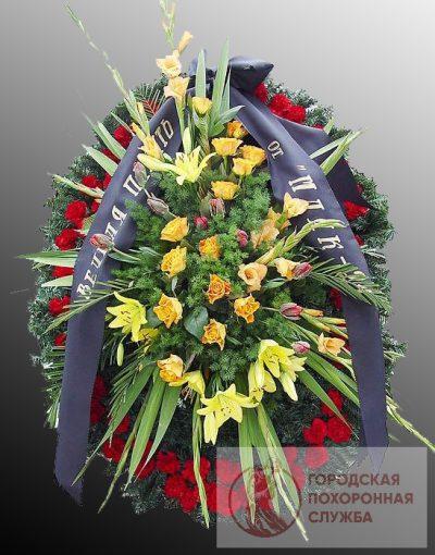 Фото 1 - Траурный венок из живых цветов ВЖЦ-36.